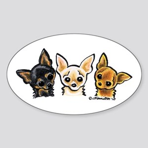 3 Smooth Chihuaha Sticker (Oval)